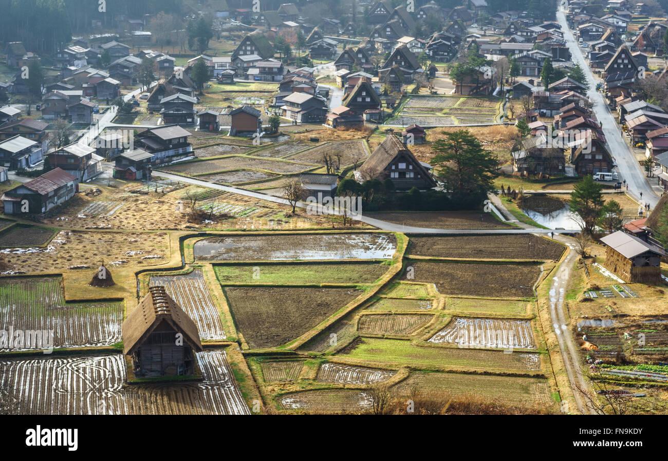 Shirakawa-go village, Gifu Prefecture, Japan - Stock Image