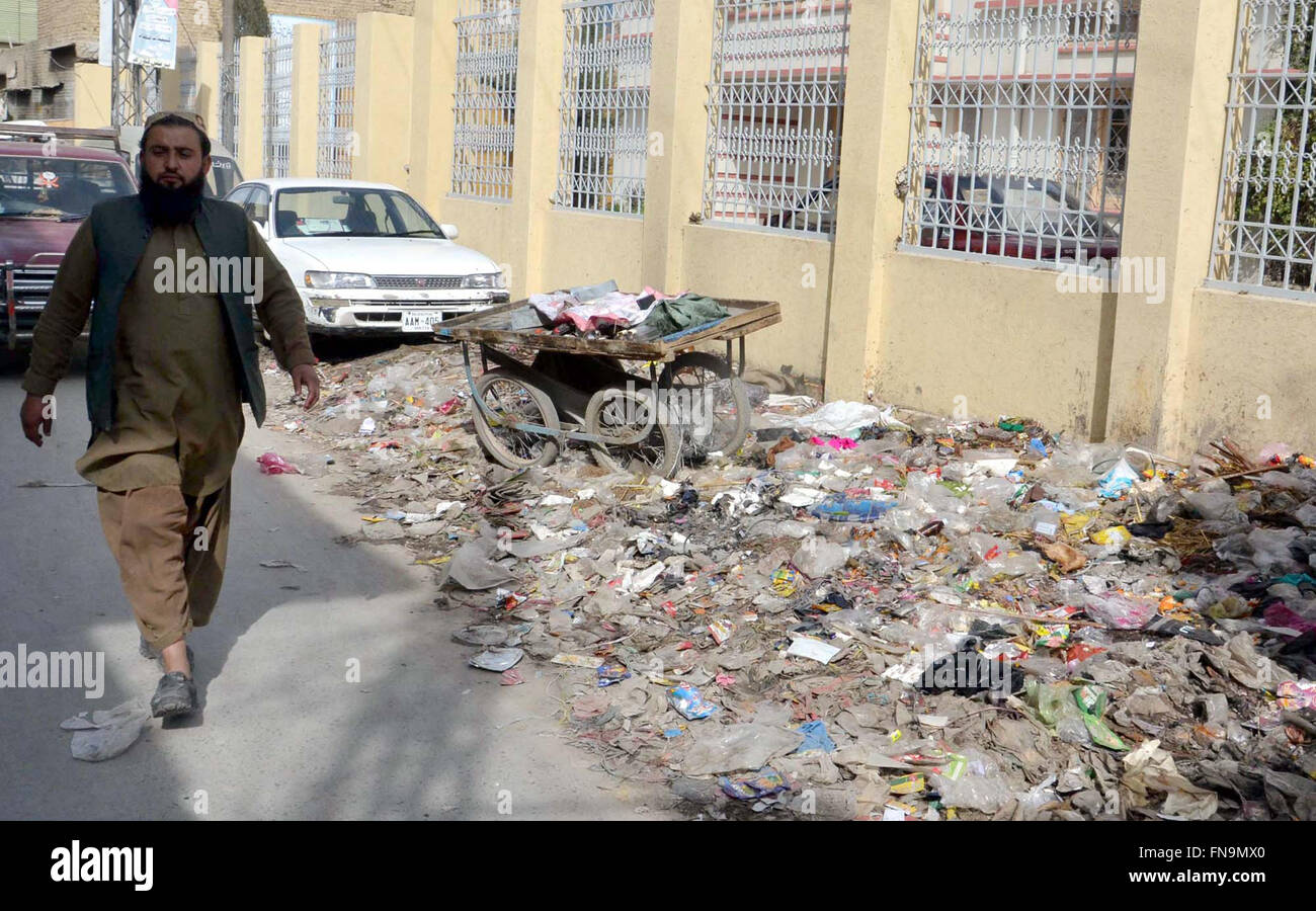 Huge heap of garbage nearby local hospital at Qandhari Market showing the negligence of concerned authorities as - Stock Image
