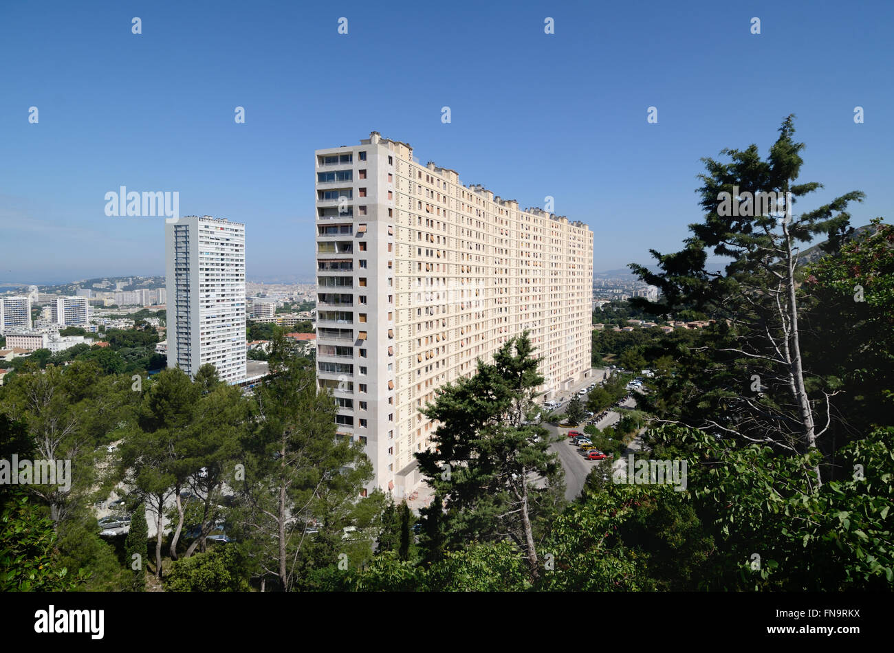 High-Rise Apartment Building or Tower Block in the Redon District of the Eastern Suburbs of Marseille or Marseilles - Stock Image