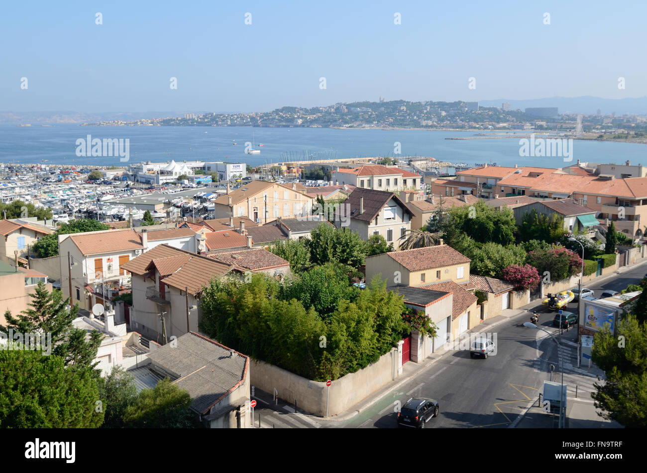 View over the Pointe Rouge District in the Southern Area of Marseille Provence France - Stock Image