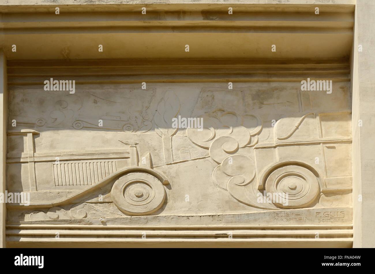 Façade 1920s Art Deco Garage Devoulx Bas-Relief or Carving of ...