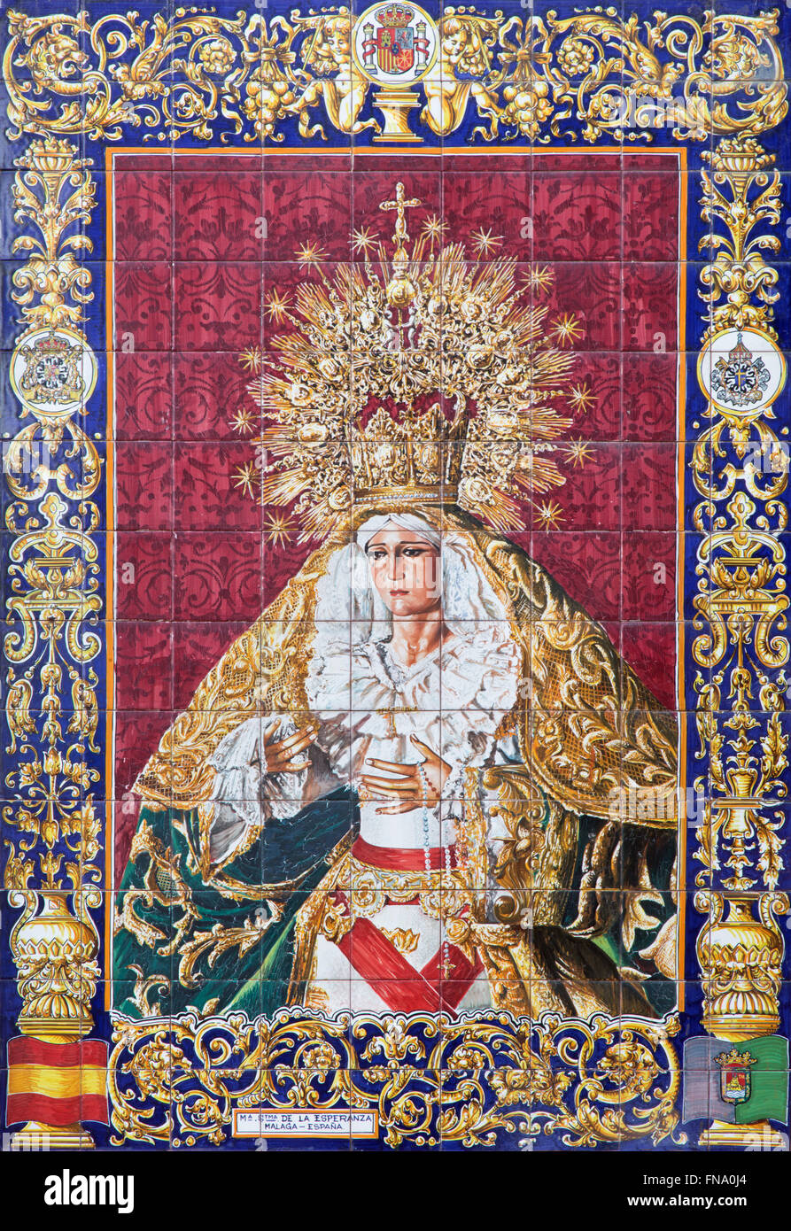 JERUSALEM, ISRAEL - MARCH 4, 2015: The ceramic tiled, cried Madonna from Malaga on the facade of house. - Stock Image