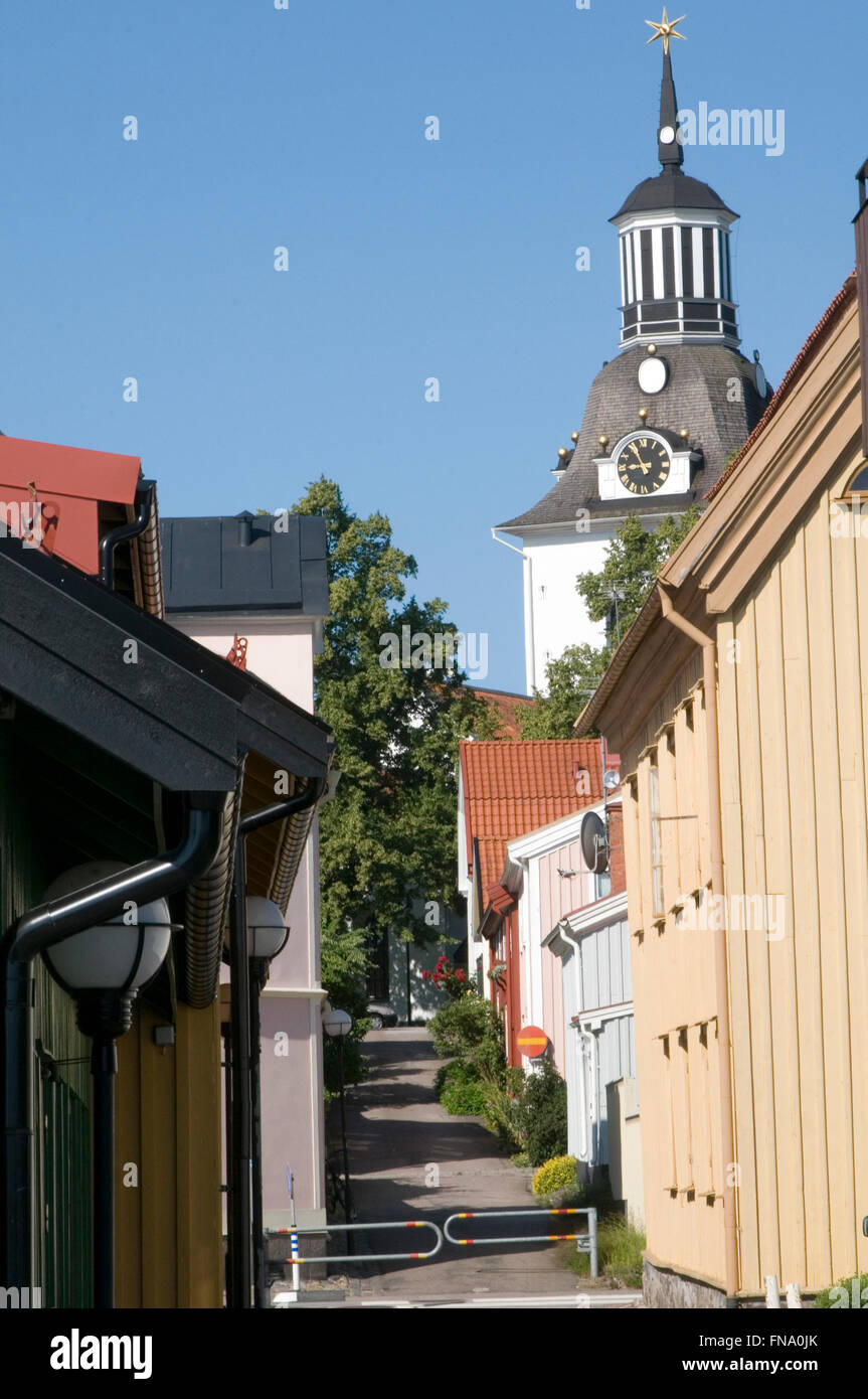gamla vastervik Sweden old wooden buildings Swedish town towns wood construction traditional buildings building - Stock Image