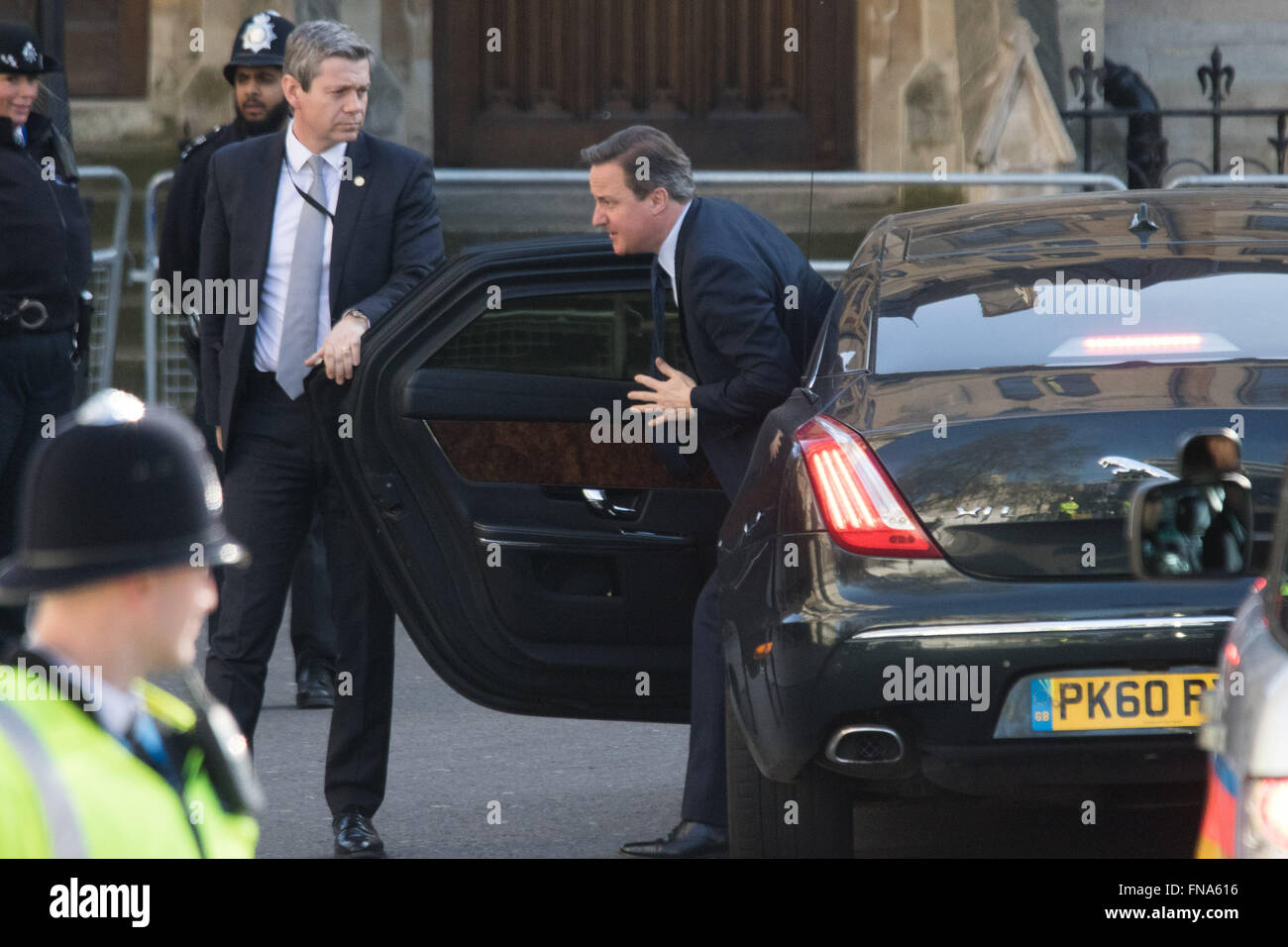 Westminster Abbey, London, March 14th 2016.  Her Majesty The Queen, Head of the Commonwealth, accompanied by The Duke of Edinburgh, The Duke and Duchess of Cambridge and Prince Harry attend the Commonwealth Service at Westminster Abbey on Commonwealth Day. PICTURED: Prime Minister David Cameron arrives. Credit:  Paul Davey/Alamy Live News Stock Photo