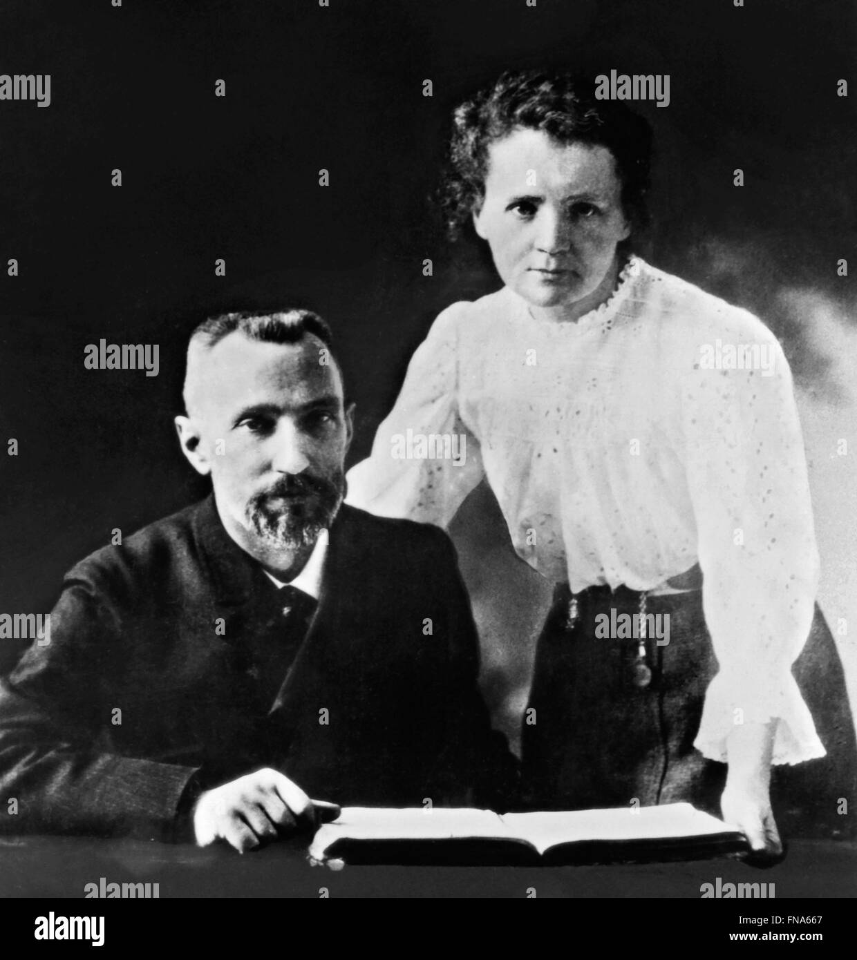Marie Curie and her husband Pierre. Photograph of the Nobel prize winning scientists, Pierre and Marie Curie taken - Stock Image