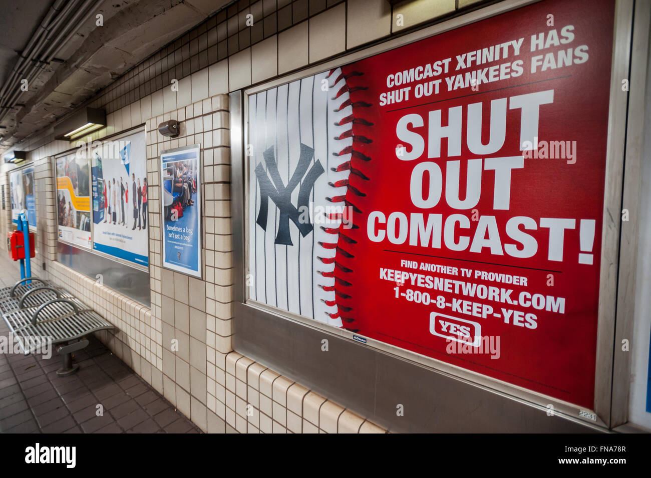 an advertisement by the yes network in a path station in new york on