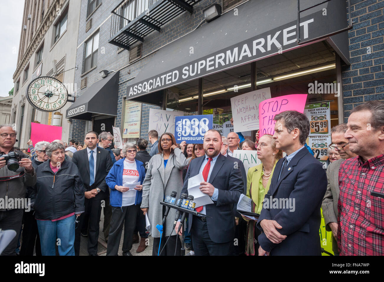 NYC Councilmember Corey Johnson speaks to residents of of the Chelsea and Greenwich Village neighborhoods at a rally - Stock Image