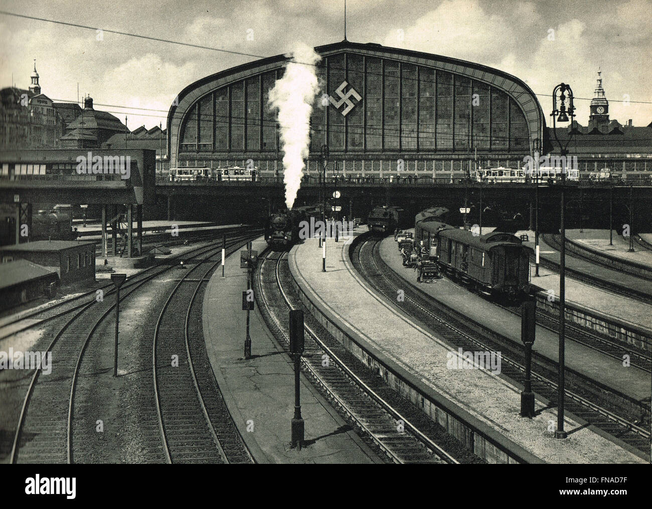 Hauptbahnhof Hamburg Railway Station with Nazi Swastika emblem circa 1938 - Stock Image