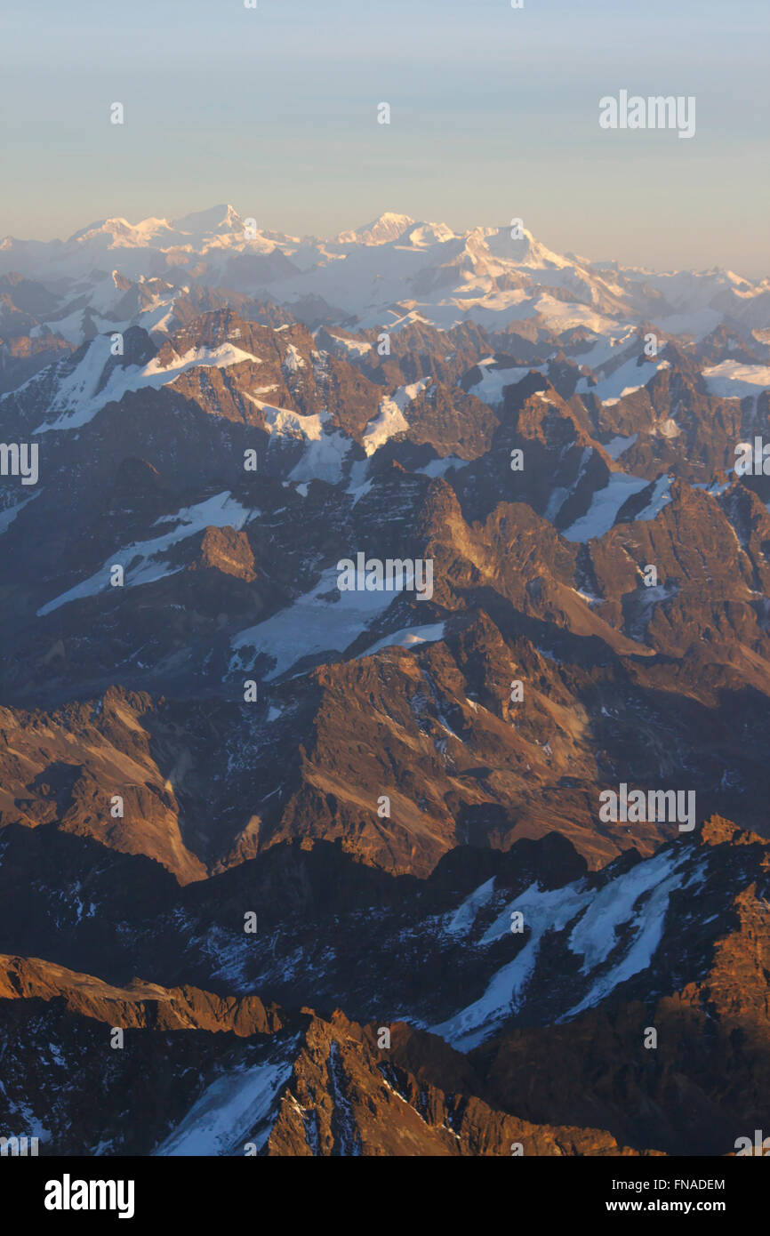 View from Huayna Potosi over the Cordillera Real, sunrise, Bolivia - Stock Image