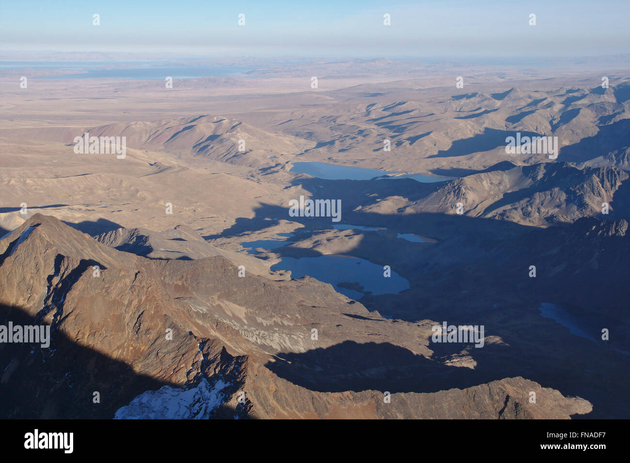 View from Huayna Potosi over the Altiplano and Lake Titicaca, Bolivia - Stock Image