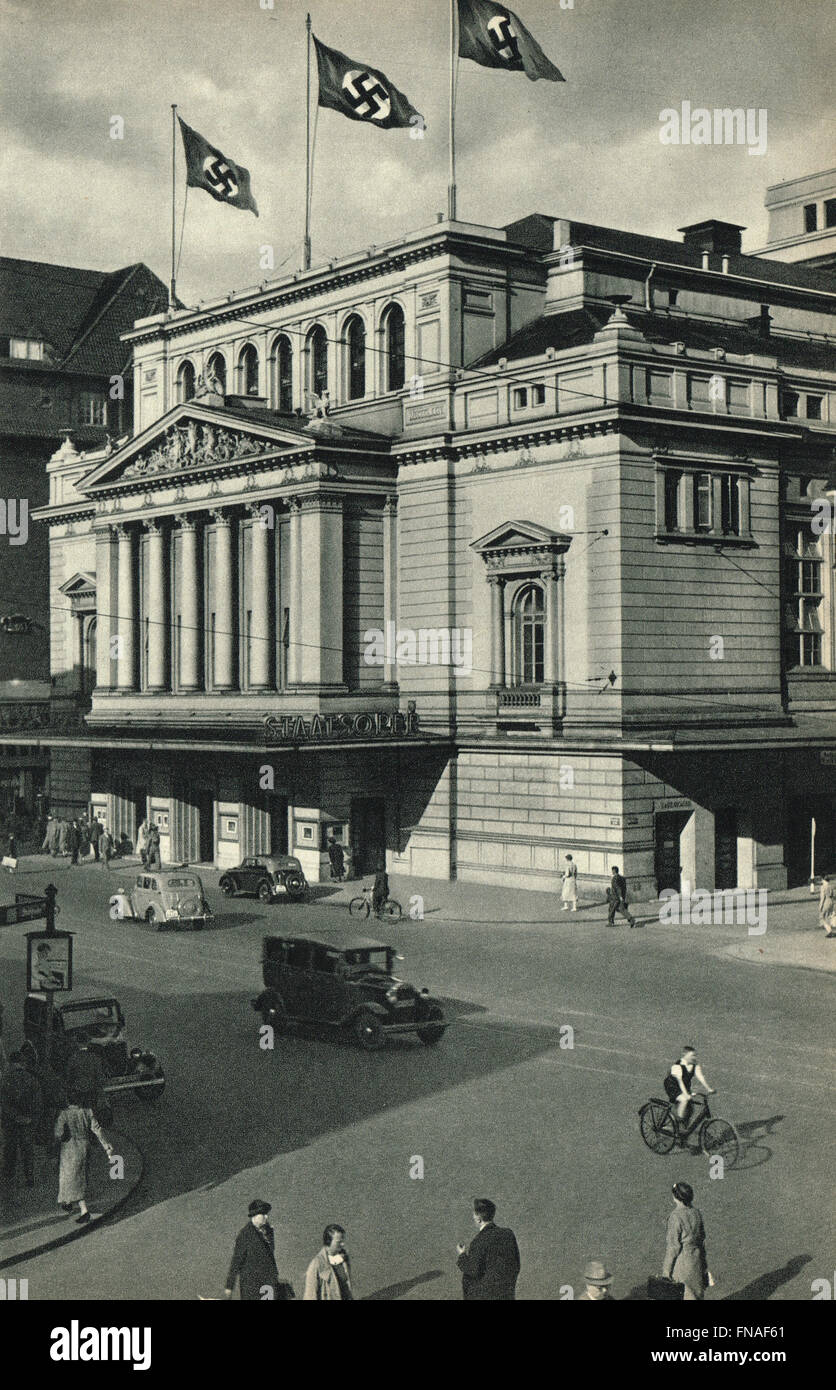 Staatsoper Hamburg State Opera House flying Nazi Swastika flags circa 1938 - Stock Image