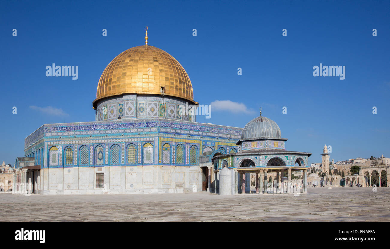 JERUSALEM, ISRAEL - MARCH 5, 2015: The Dom of Rock on the Temple Mount in the Old City. Stock Photo