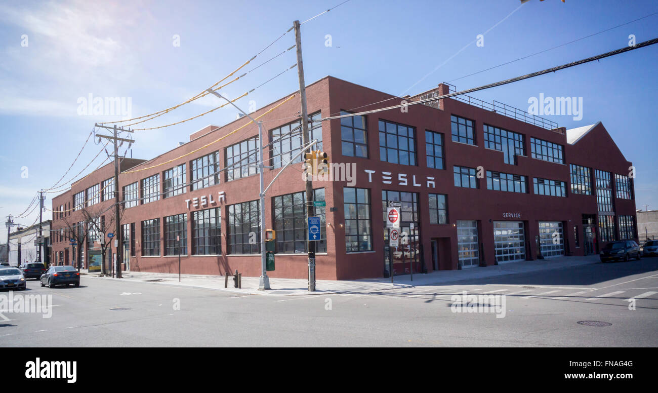 The new Tesla Motors showroom and service center is almost ready to open in the Red Hook neighborhood of Brooklyn - Stock Image