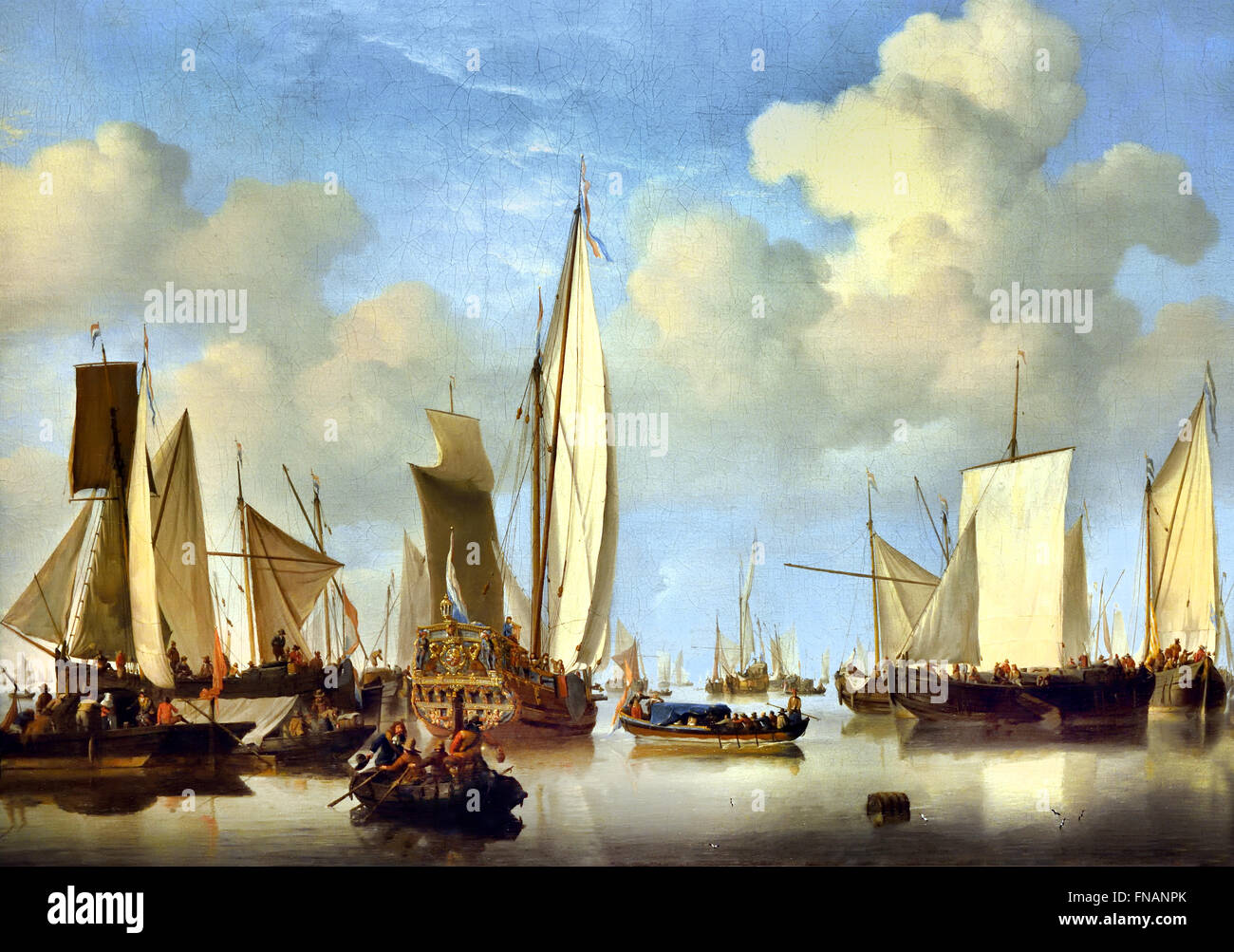 Ships in the Roads Willem van de Velde II 1633 -1707 Dutch Netherlands Stock Photo