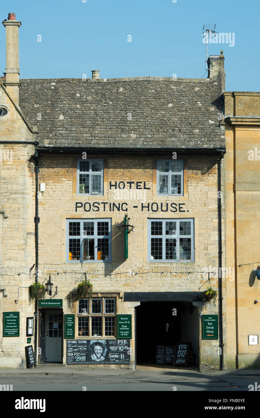 The Kings Arms / Posting house hotel, Stow on the Wold, Gloucestershire, Cotswolds, England - Stock Image