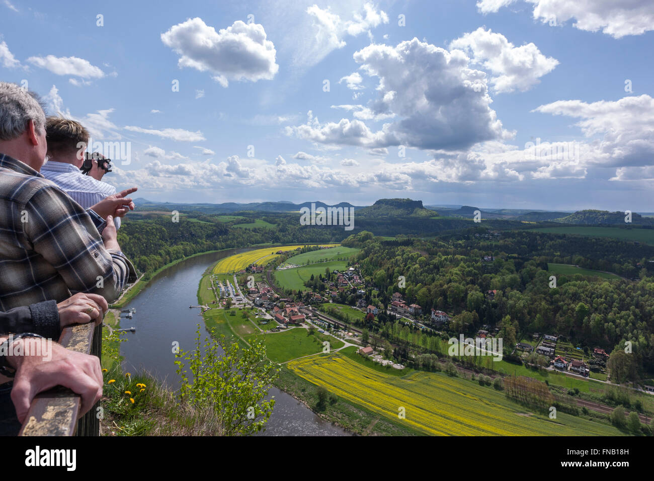 Tourists from the Bastei over the Elbe valley, Elbe Sandstone Mountains, Sächsische Schweiz, Saxony, Germany - Stock Image