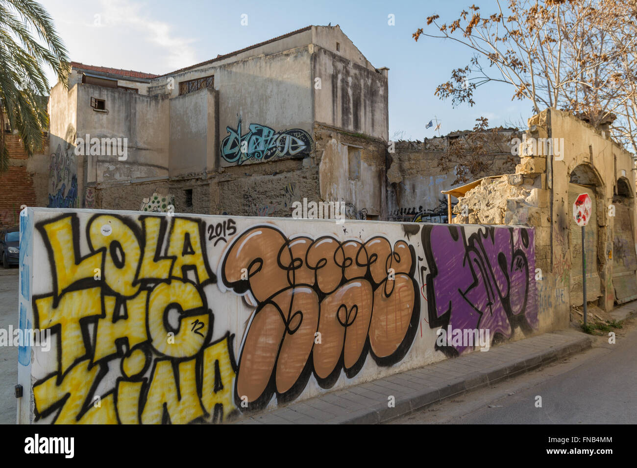 Nicosia, Cyprus - 26 February, 2016:  Street Art and Derelict Buildings in the Old Nicosia city center. - Stock Image