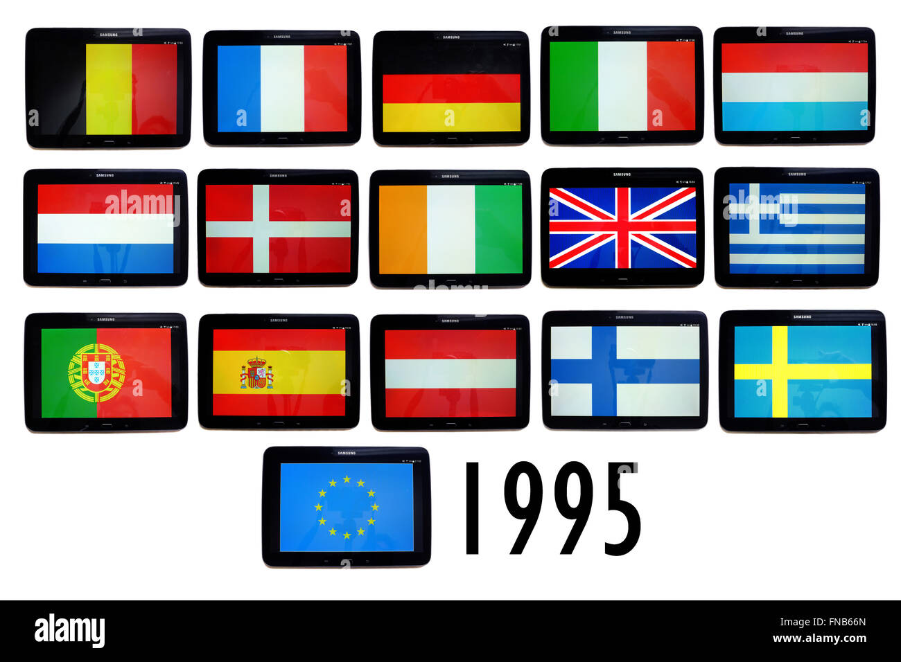 The flags of the member countries of the European Union as of 1995 displayed on the screens of tablets. - Stock Image