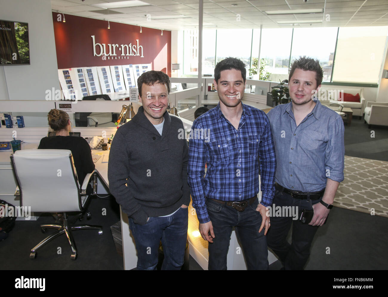 Los Angeles, California, USA. 3rd Feb, 2016. From L to R, Ed Servaites, Oren Castro and Ben Delamont, co-founders - Stock Image
