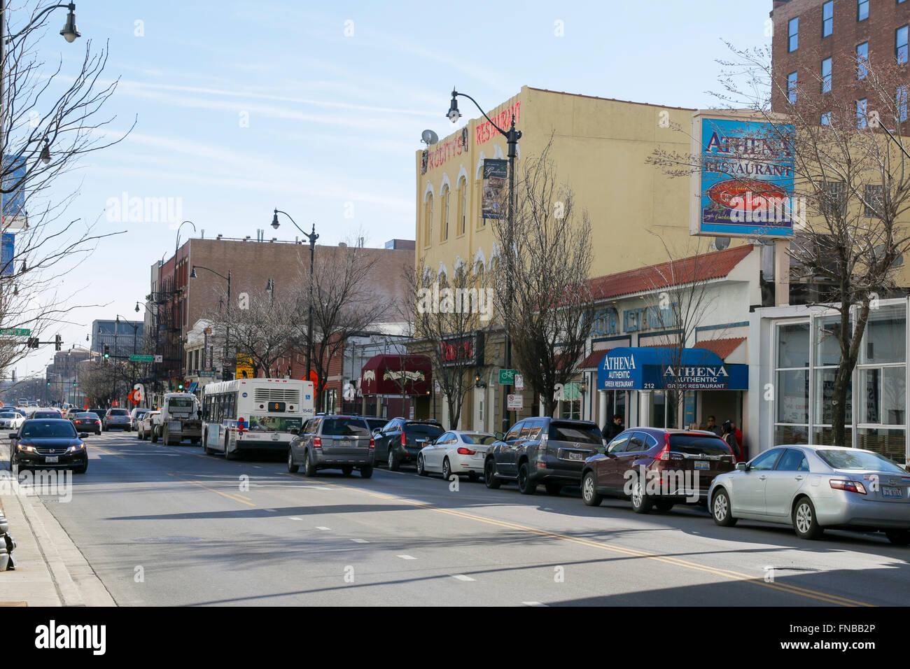 Greektown Chicago Illinois Athena Restaurant Stock Photo