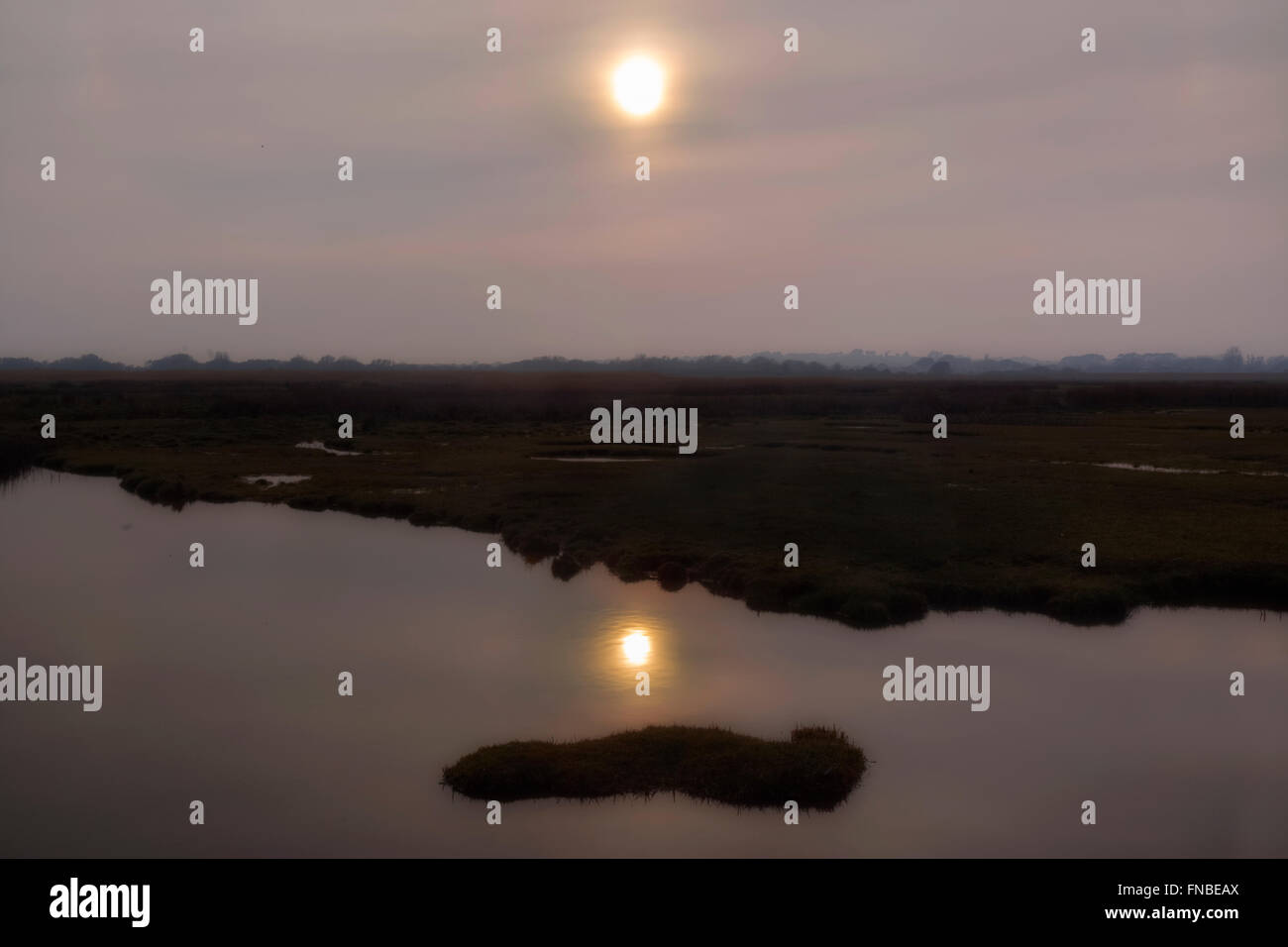 evening sun over Stanpit Marsh, Christchurch, Dorset, England, UK - Stock Image