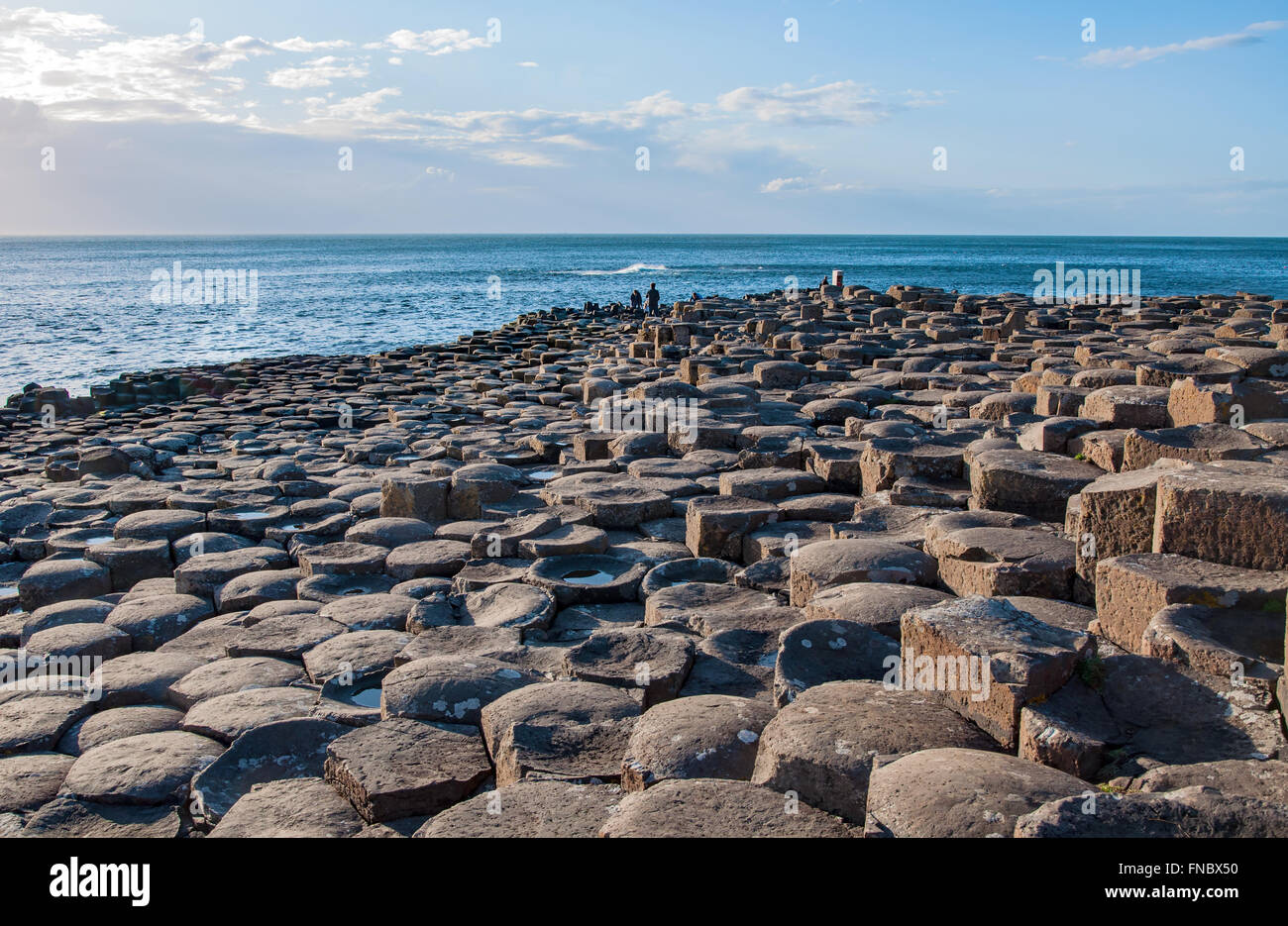 Giants Causeway. Unique natural geological formation of hexagonal volcanic basalt rocks and stones on the coast - Stock Image