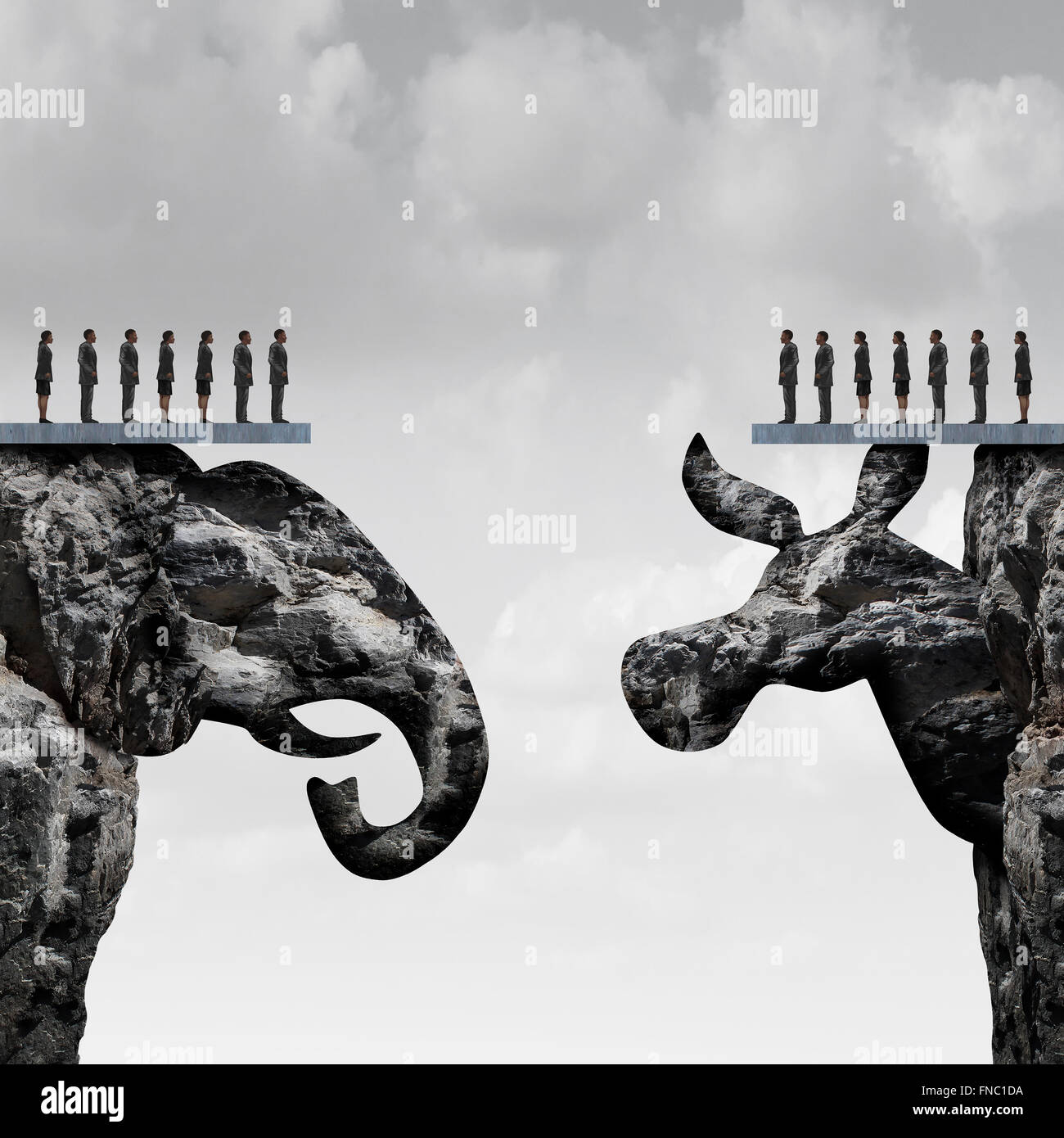 Republican democrat political division concept and American election fight as as two mountain cliff sculptures shaped - Stock Image