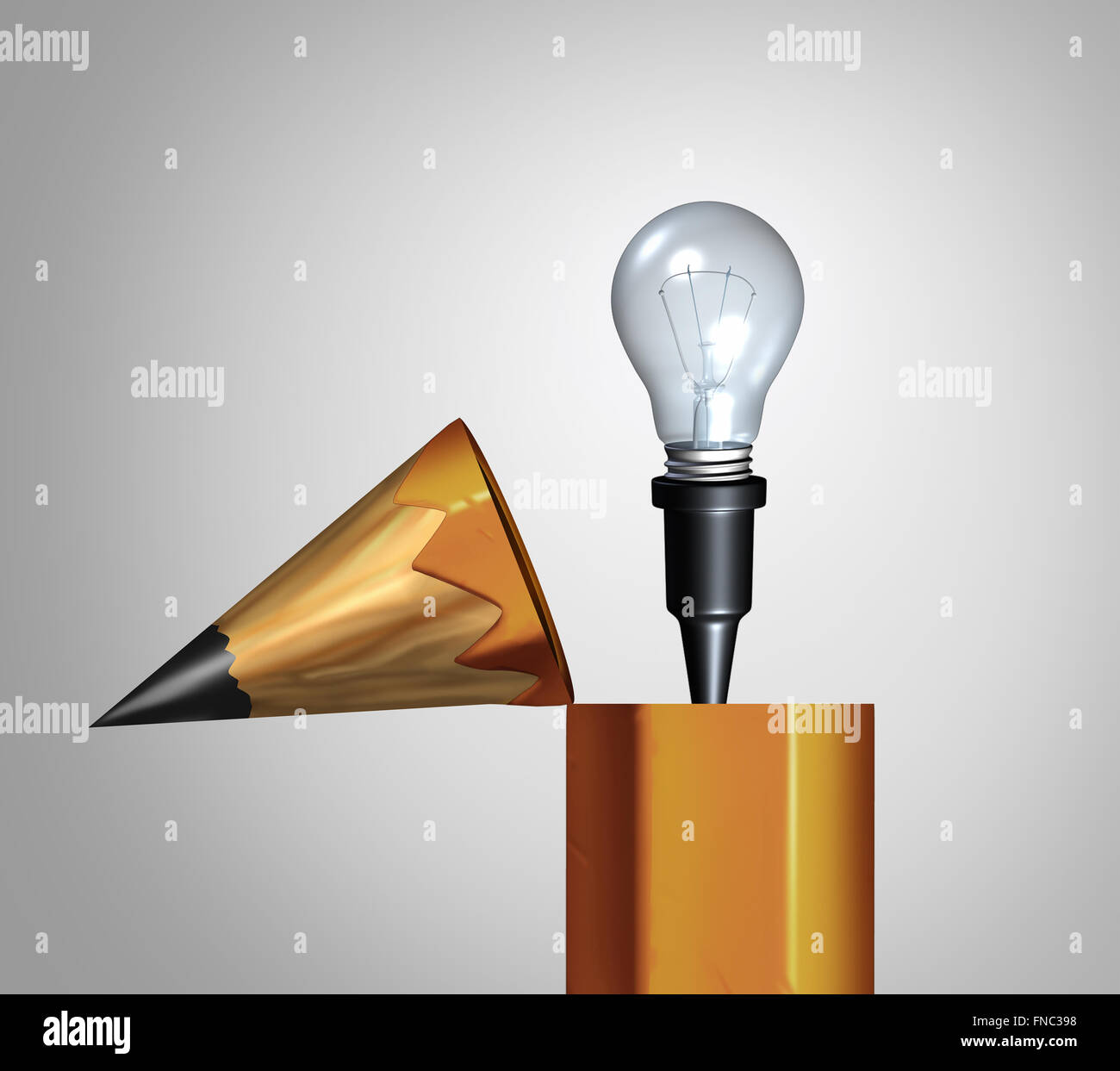 Idea pencil concept as an open drawing instrument with an emerging bright illuminated lightbulb or light bulb as - Stock Image