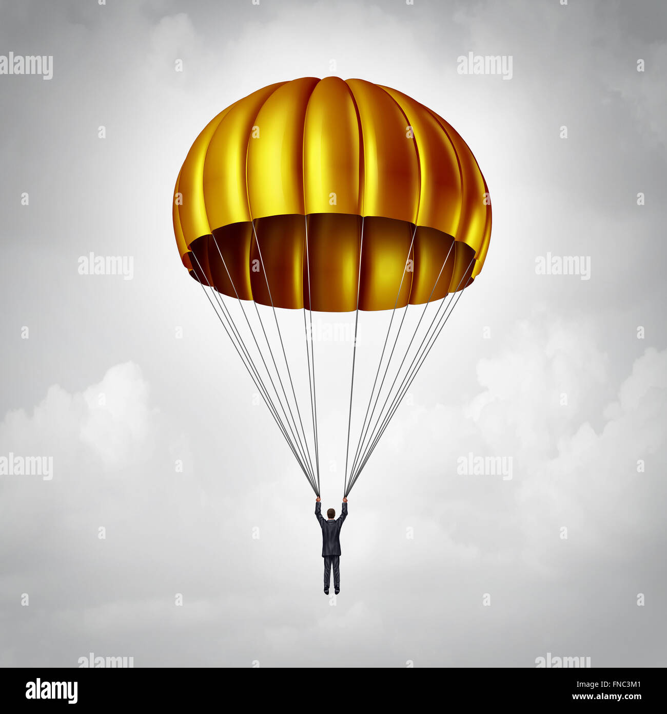 Golden parachute concept as a businessman parachuting safely down with a gold landing gear as a business benefits - Stock Image