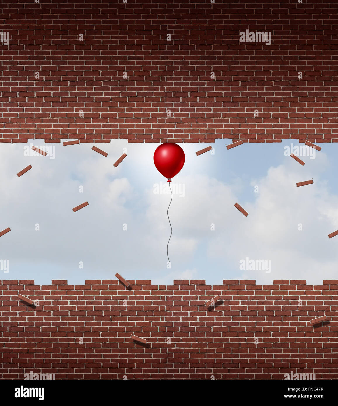 Business power concept and exceptional performance symbol as a small red balloon lifting up and breaking apart a - Stock Image