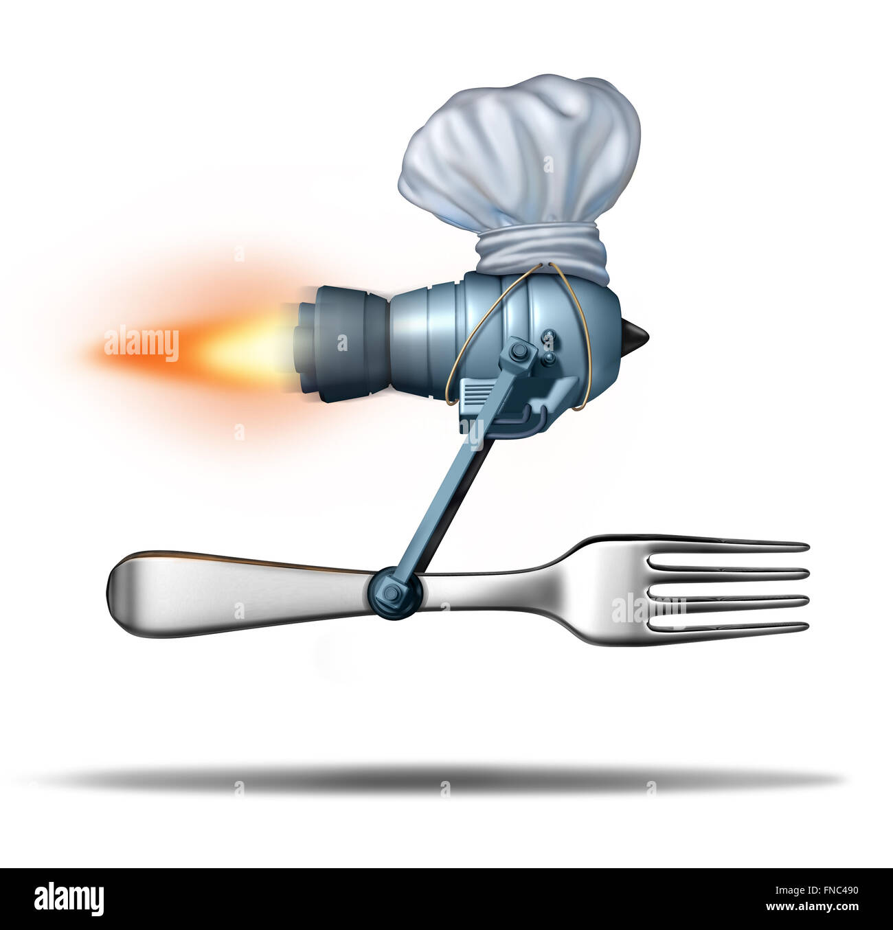 Fast food delivery and quick catering service concept as a jet engine with a fork wearing a chef hat as a meal delivering - Stock Image