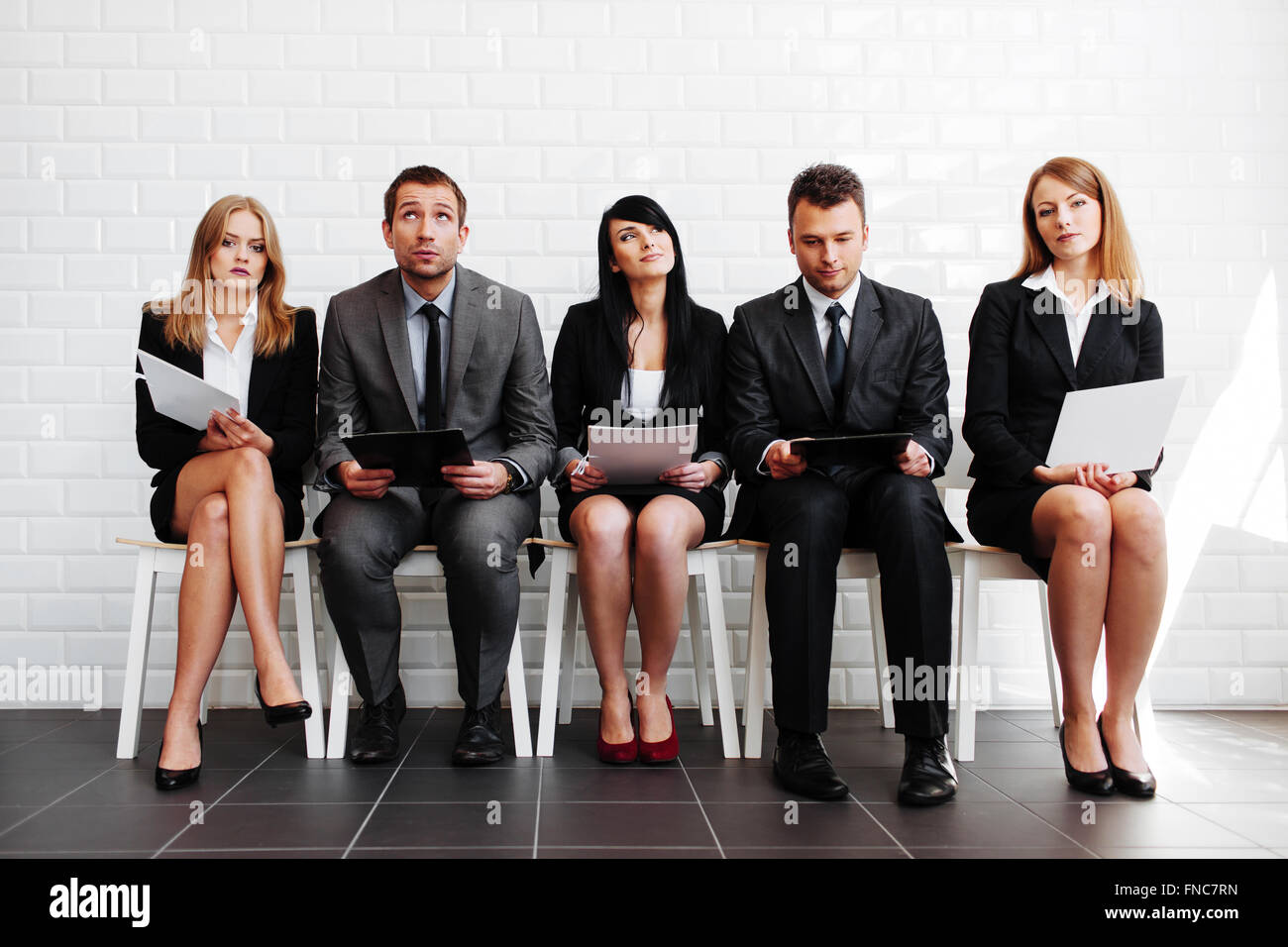 Human resources. Stressed business people before interview Stock Photo
