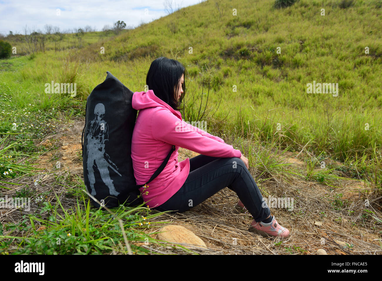 woman sit and thinking - Stock Image