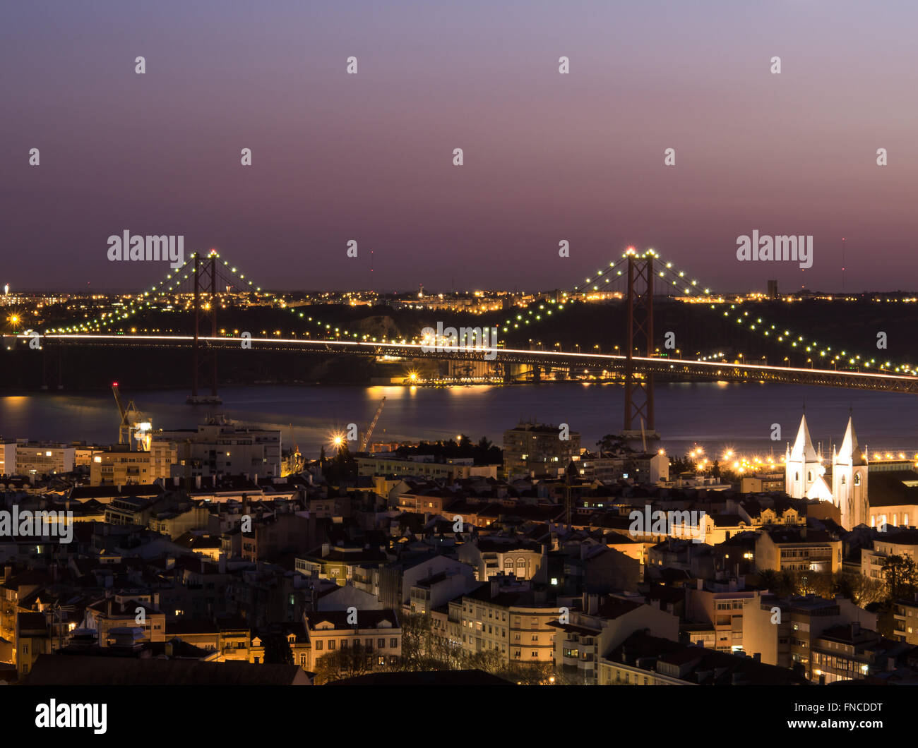 Ponte 25 de Abril at night view, Lisbon, Portugal Stock Photo