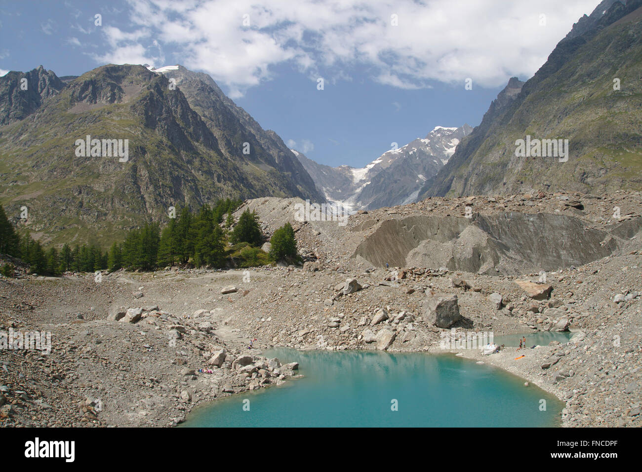 Lac du Miage and Glacier du Miage, Val Veny, Mont Blanc Massif, Italy - Stock Image