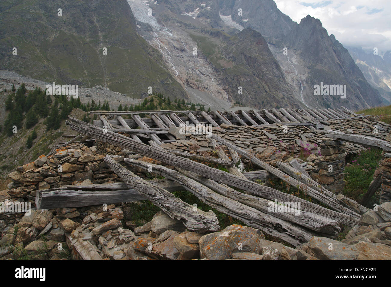 Ruin of a house on a Alp in Val Veny, Mont Blanc Massif, Italy - Stock Image