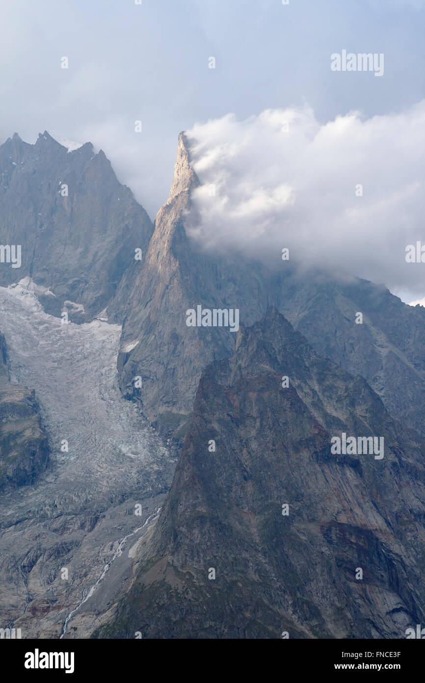 Aiguille Noir de Peuterey, Mont Blanc Massif, Val Veny, Italy - Stock Image