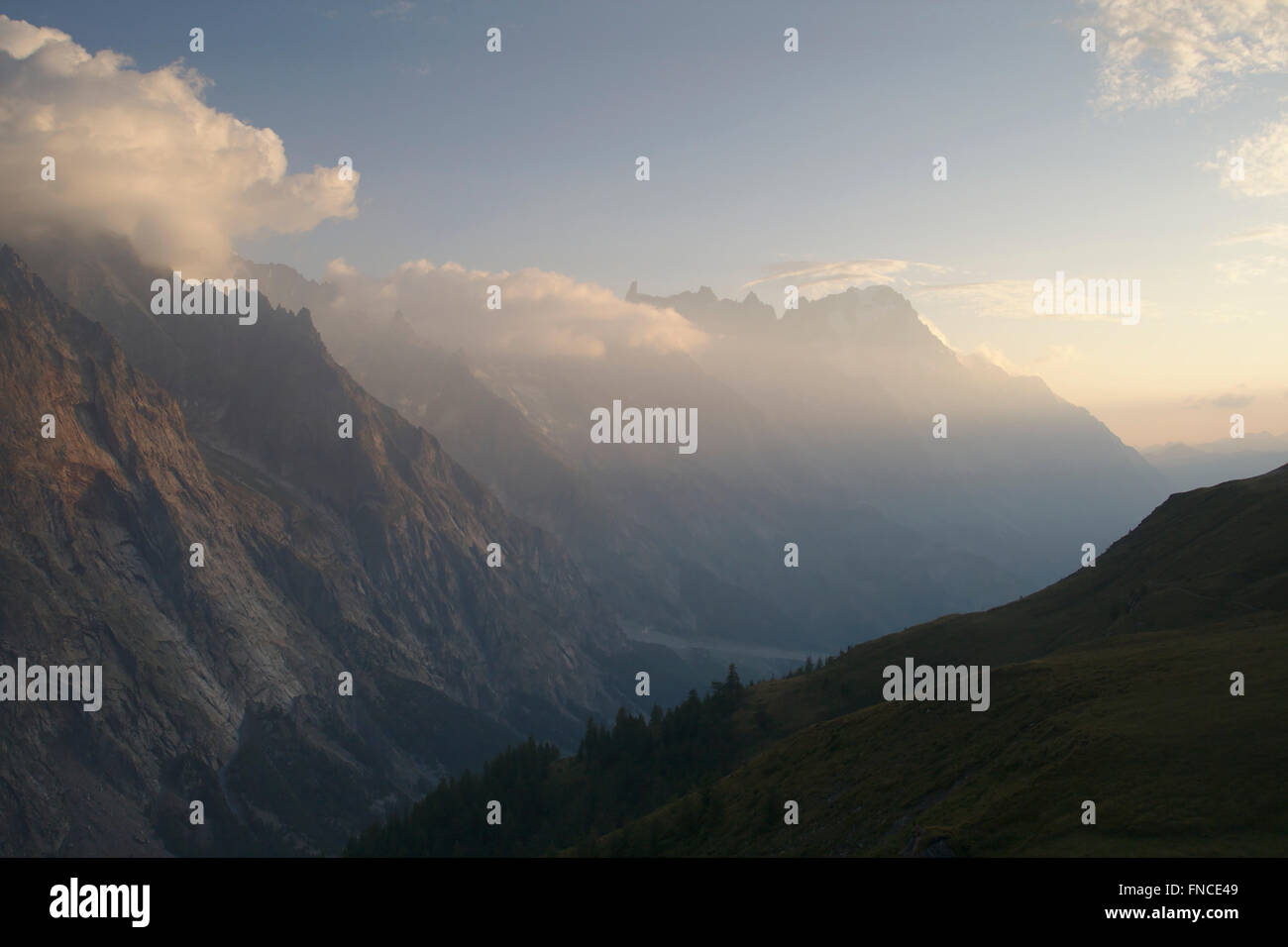 Grandes Jorasses in morning light from old Alpe in Val Veny, Italy - Stock Image