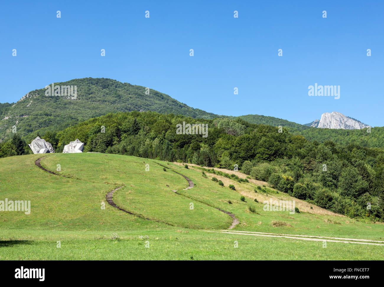 Tjentiste War Memorial in Sutjeska National Park in Republika Srpska entity, Bosnia and Herzegovina Stock Photo