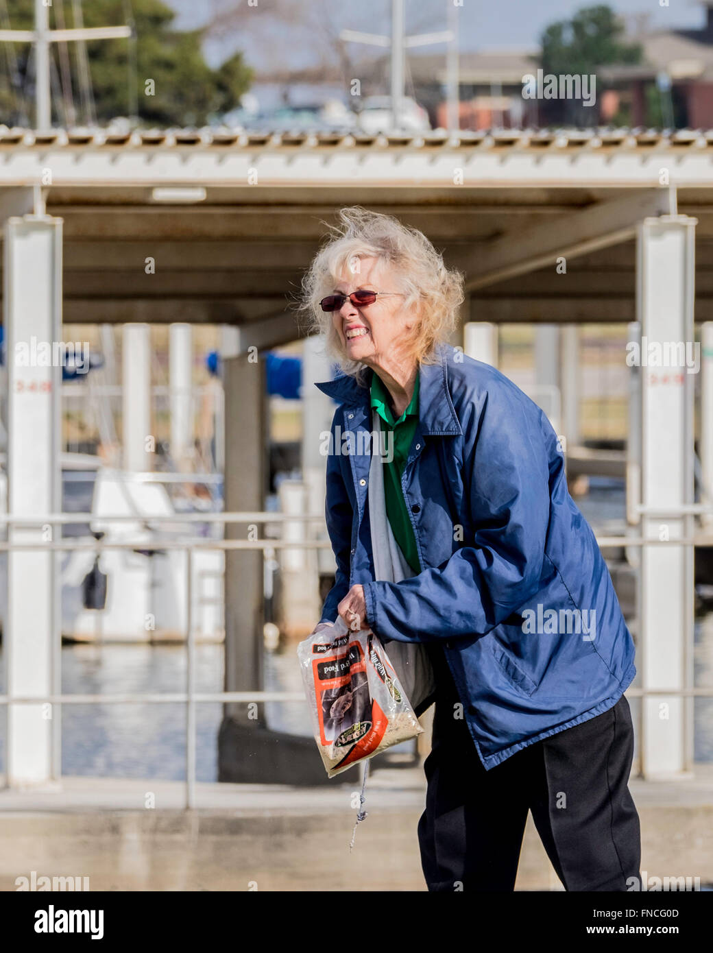 A senior woman throwing out bird seed for geese at a lake marina in Oklahoma, USA. - Stock Image