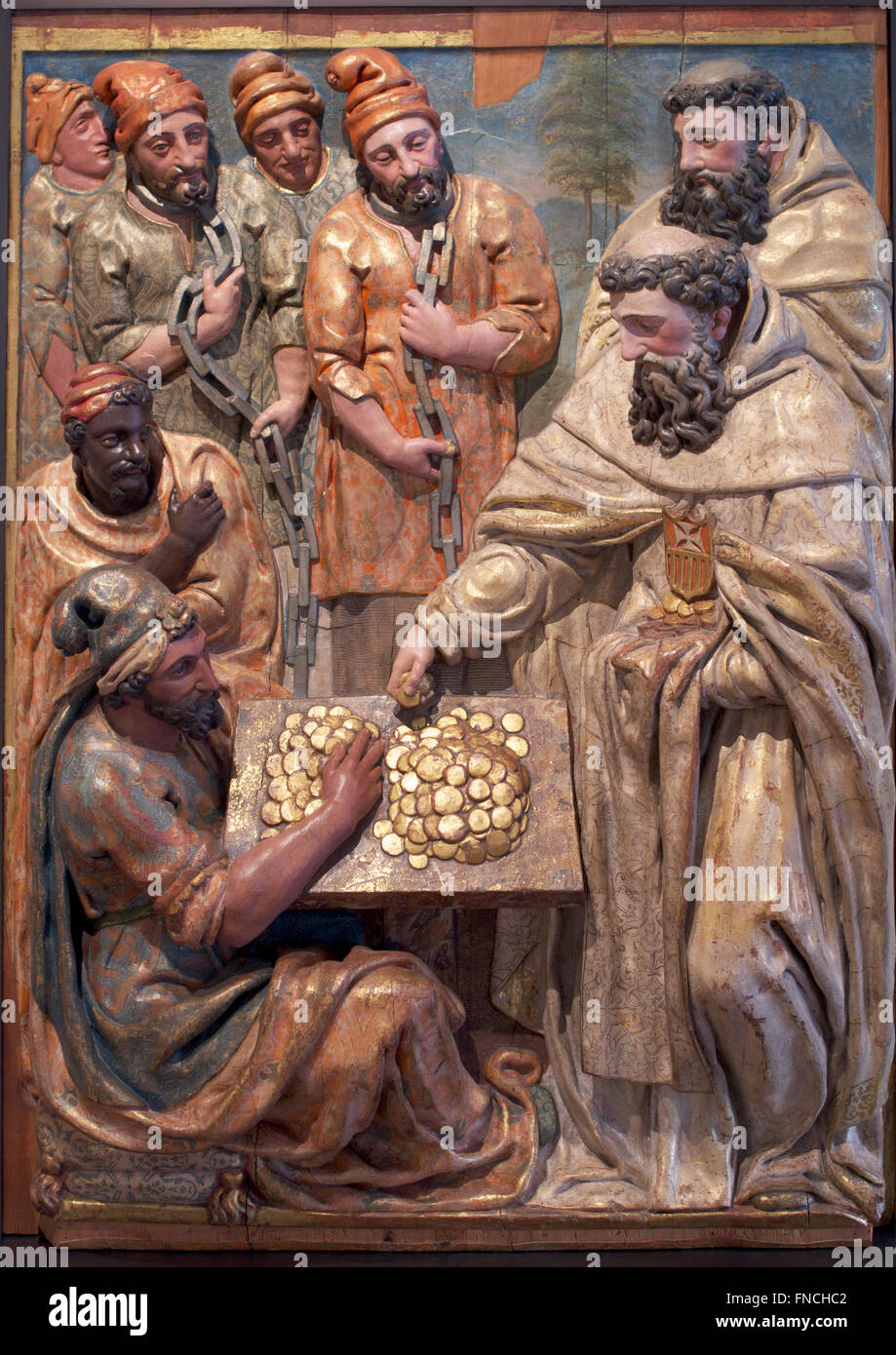 Museo Nacional de Escultura National Sculpture Museum Valladolid Saint Peter Nolasco redeeming captives Pedro de - Stock Image