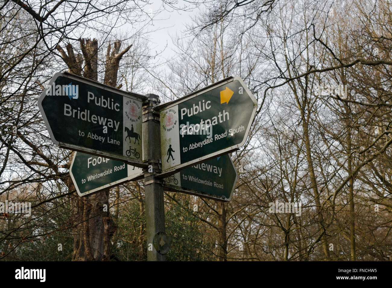 Public footpaths signs Ecclesall Woods Sheffield - Stock Image