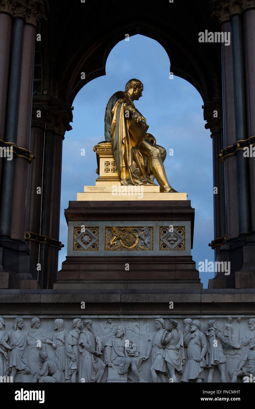 The gilded sculpture of Prince Albert, husband of Queen Victoria,is the focus of the Albert Memorial in Kensington, - Stock Image