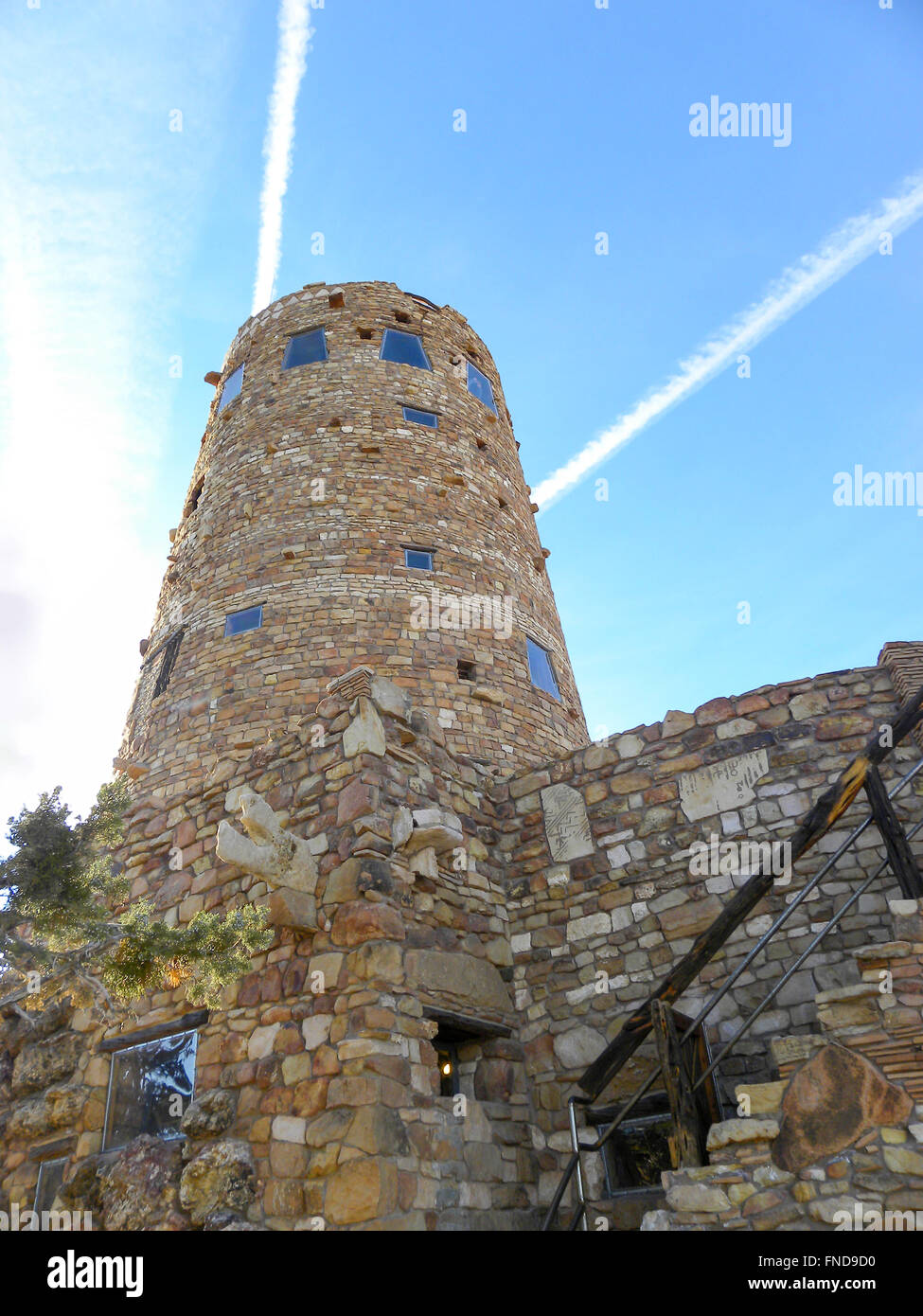 Rock building at Grand Canyon, blue sky. - Stock Image
