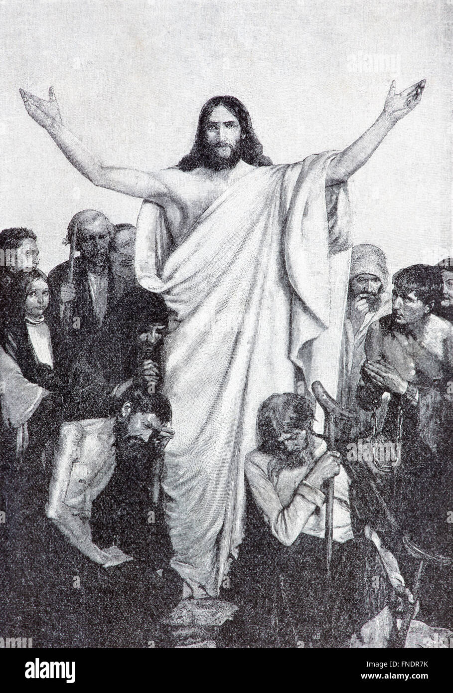 SEBECHLEBY, SLOVAKIA - JULY 27, 2015:  Jesus healing among the lames and badlys  lithography by unknown artist, - Stock Image