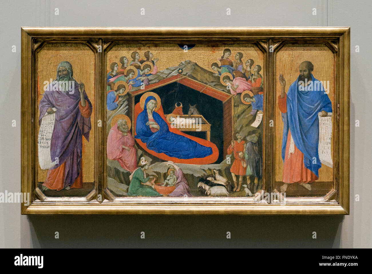 The Nativity with the Prophets Isaiah and Ezekiel by Duccio di Buoninsegna, circa 1308 - Stock Image
