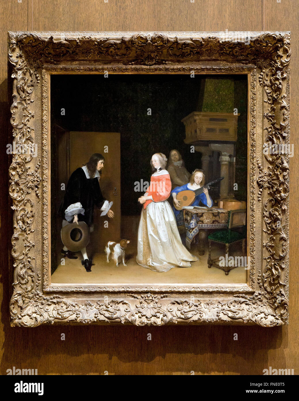 The Suitor's Visit by Gerard ter Borch the Younger, circa 1658 - Smithsonian National Gallery of Art, Washington, - Stock Image
