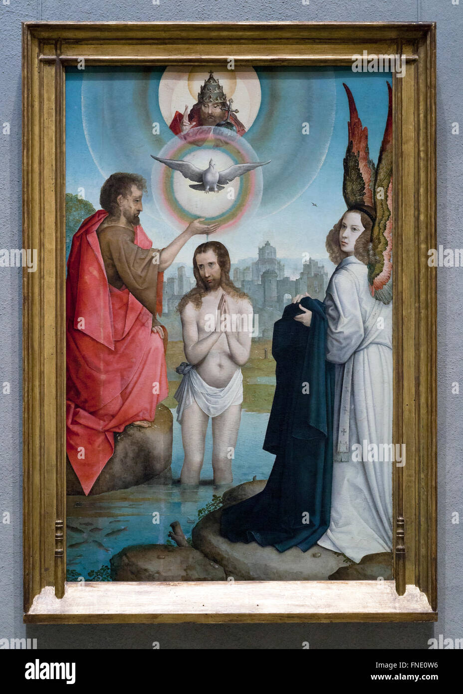 The Baptism of Christ by Juan de Flandes, circa 1508 - Smithsonian National Gallery of Art, Washington, DC USA - Stock Image