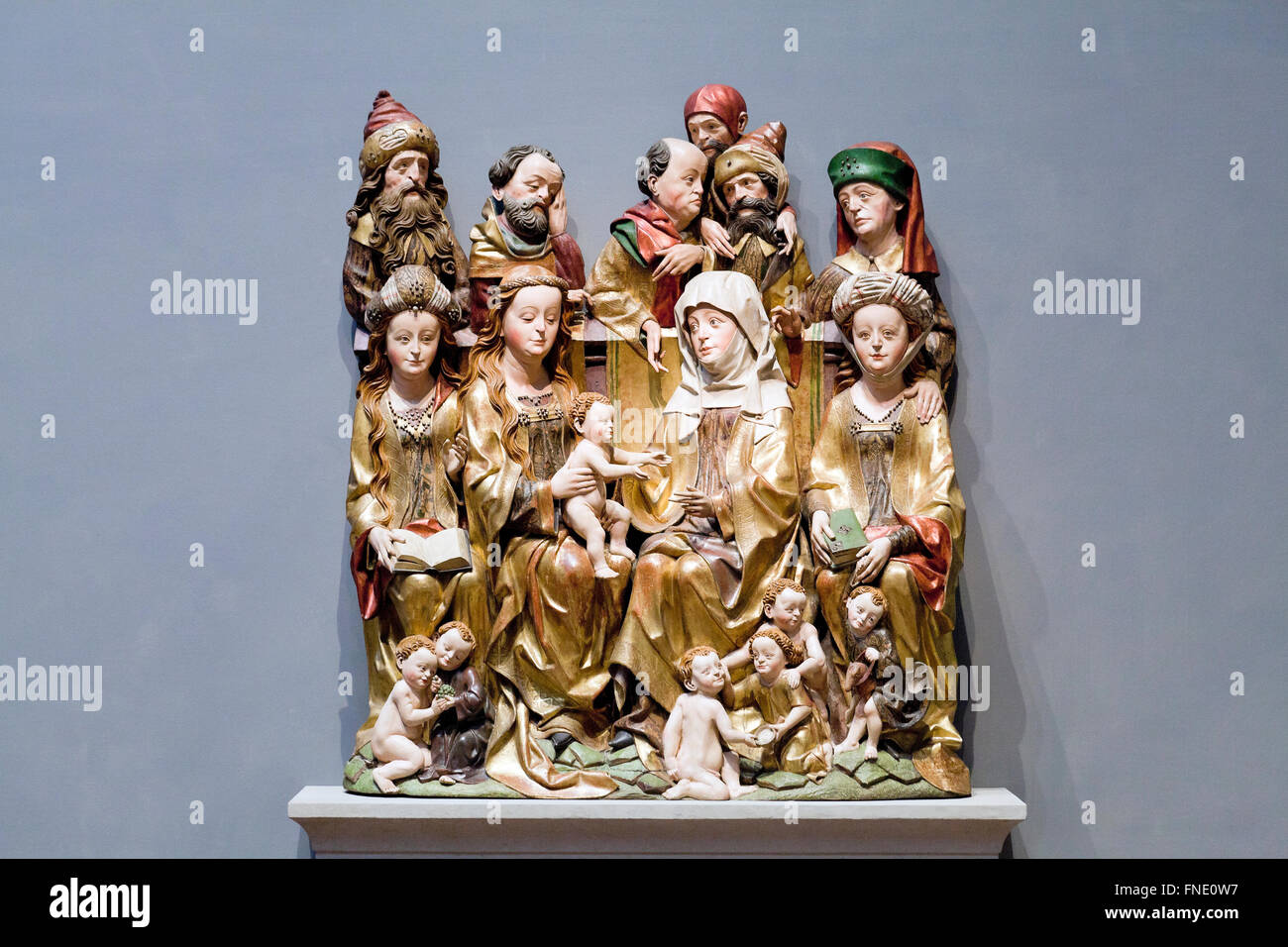 The Holy Kinship by unknown German artist, circa 1480 - Stock Image