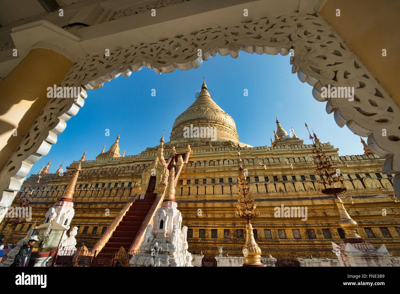 The ornate golden Shwezigon Pagoda, Bagan, Myanmar Stock Photo
